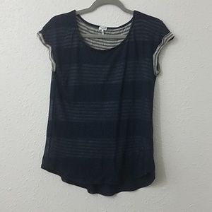 Splendid small tshirt blouse layered striped solid